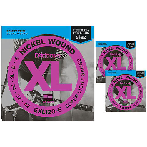 D'Addario EXL120-E Bonus Pack: Super Light Electric Guitar Strings 3 Pack with 3 Bonus High E Strings (9-42)