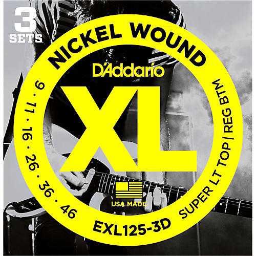 D'Addario EXL125-3D Electric Guitar Strings 3-Pack