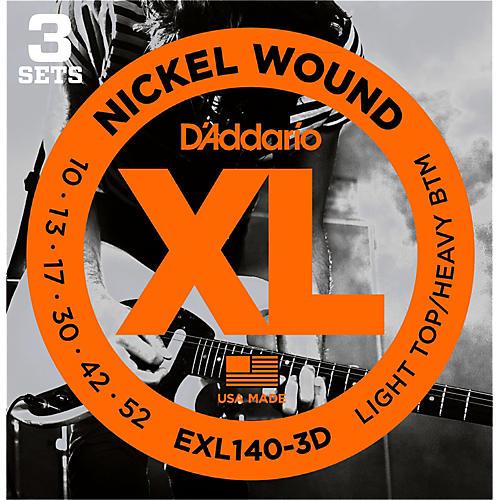 D'Addario EXL140 Light Top/Heavy Bottom Electric Guitar Strings 3-Pack