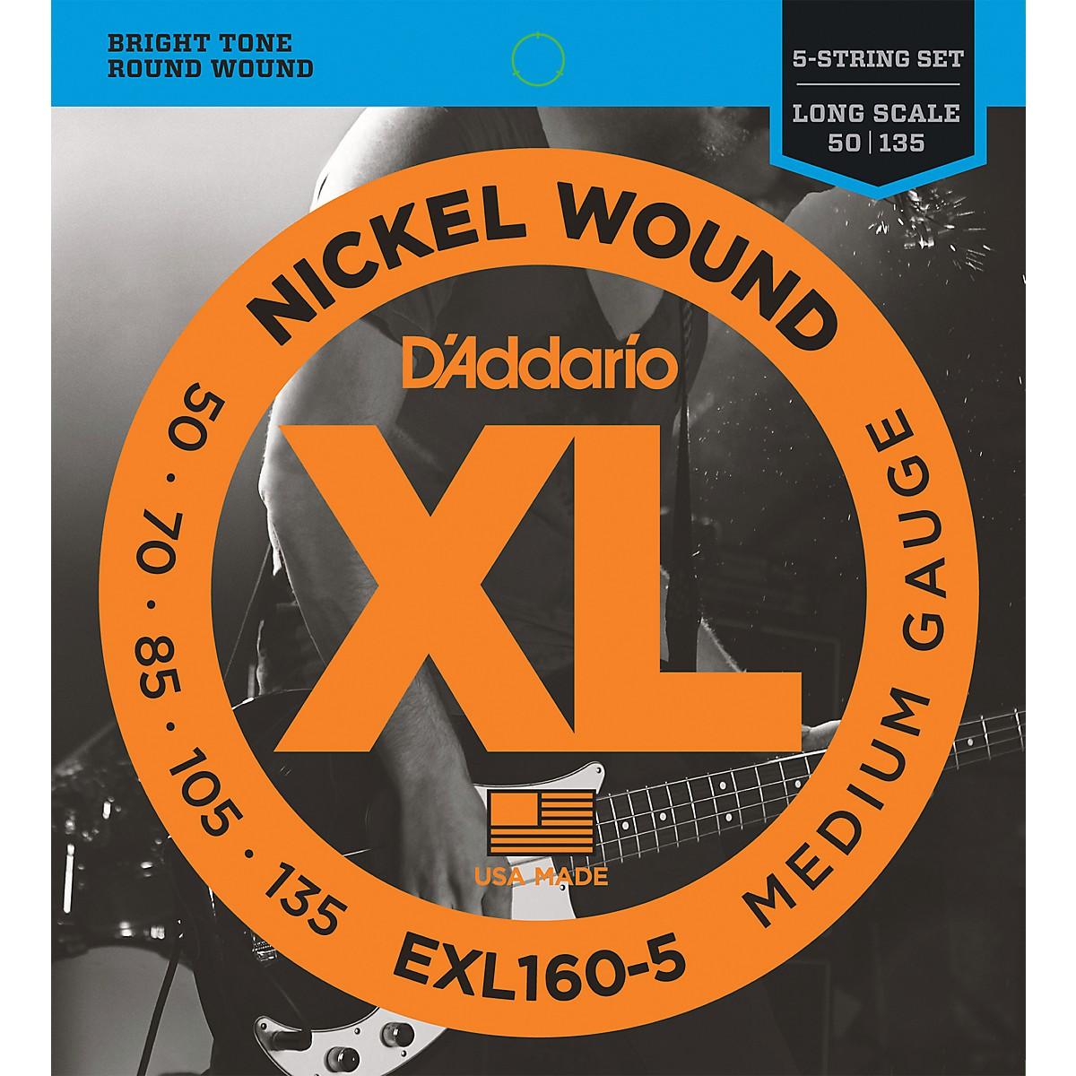 D'Addario EXL160-5 XL 5-String Bass Regular/Long String Set