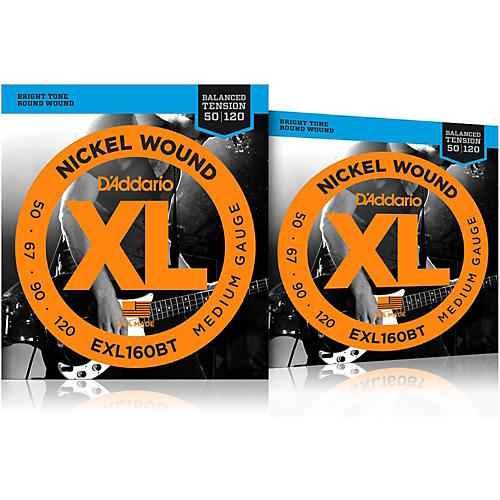 D'Addario EXL160BT Balanced Tension Long Scale Electric Bass String Set (50-120) 2 Pack