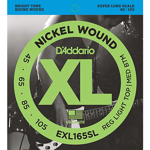 D'Addario EXL165SL Regular Light Top/Medium Bottom Nickel Wound Super Long Scale Bass Strings