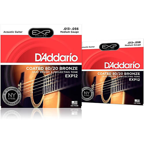 D'Addario EXP12 Coated 80/20 Bronze Medium Acoustic Guitar Strings 2-Pack