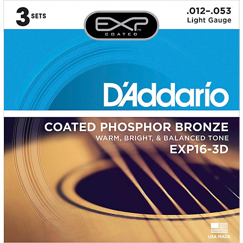 D'Addario EXP16-3D Coated Phosphor Bronze Light Acoustic Guitar Strings 3-Pack