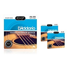 D'Addario EXP16 Coated Phosphor Bronze Light Acoustic Guitar Strings 3-Pack