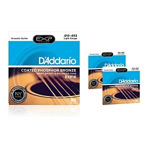 d 39 addario exp16 coated phosphor bronze light acoustic guitar strings 3 pack guitar center. Black Bedroom Furniture Sets. Home Design Ideas