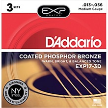 D'Addario EXP17-3D Coated Phosphor Bronze Medium Acoustic Guitar Strings 3-Pack