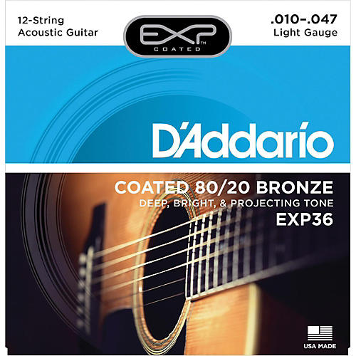 D'Addario EXP36 Coated 80/20 Bronze Light 12-String Acoustic Guitar Strings