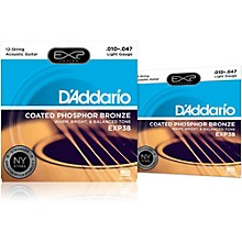 D'Addario EXP38 12-String Coated Phosphor Bronze Light Acoustic Guitar Strings 2-Pack