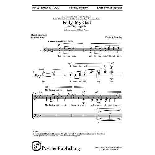 Pavane Early, My God SATB a cappella composed by Kevin Memley