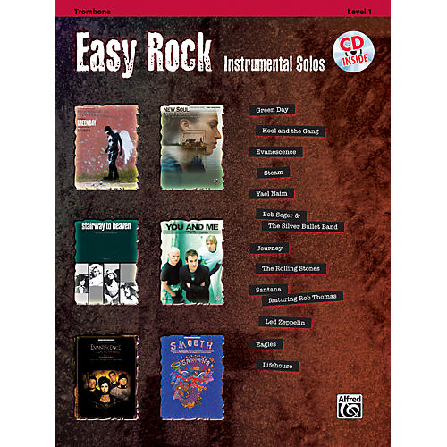Alfred Easy Rock Instrumental Solos Level 1 Trombone Book & CD
