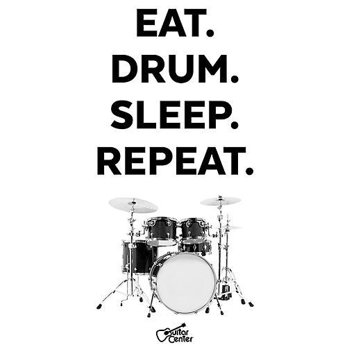 Guitar Center Eat, Drum, Sleep, Repeat - Black/White Sticker