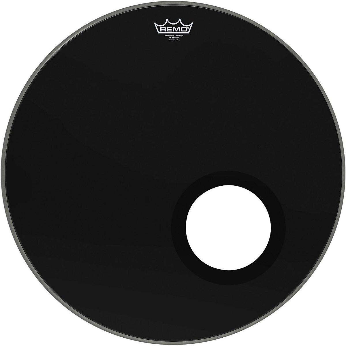 Remo Ebony Powerstroke 3 Resonant Bass Drumhead with 5 Inch Port Hole