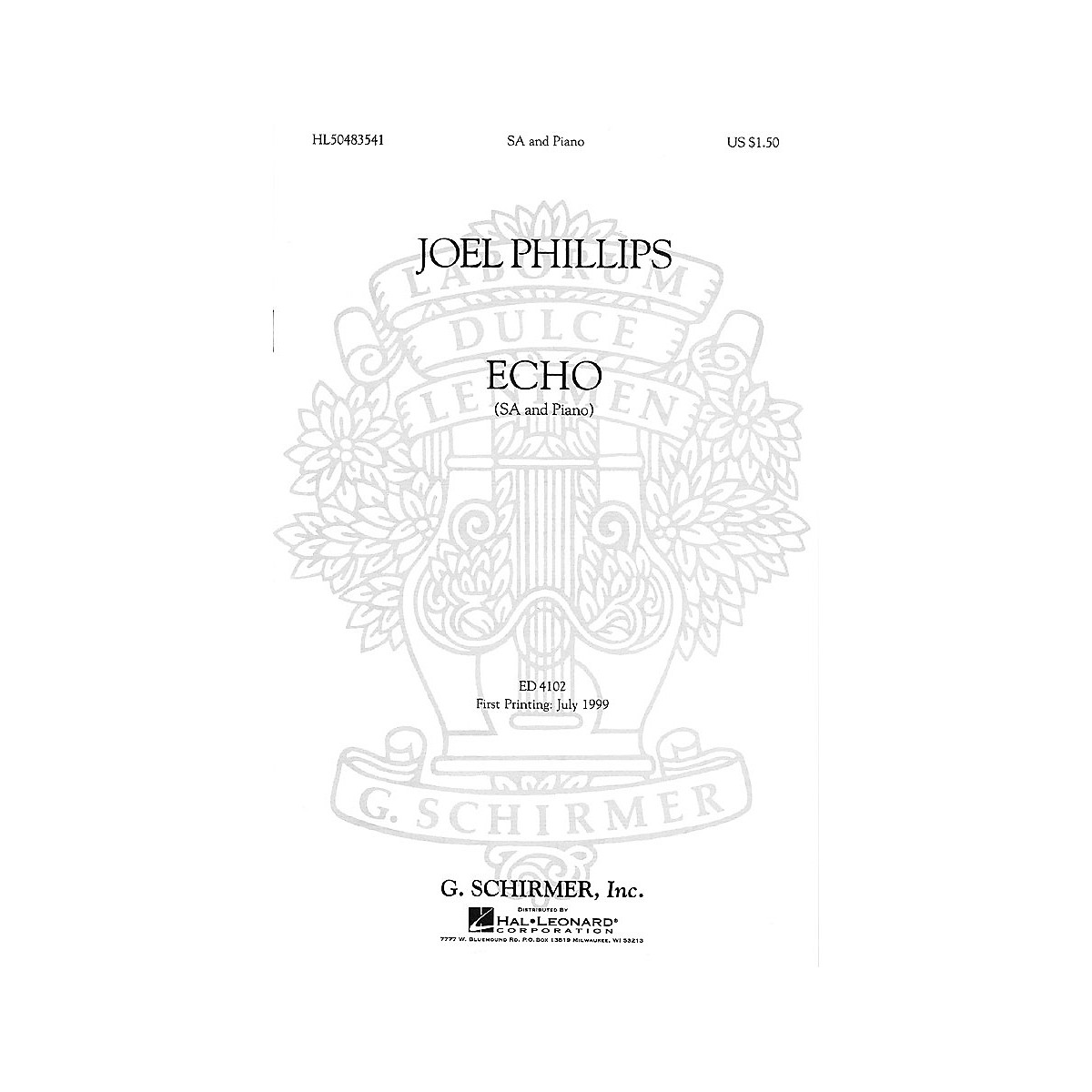 G. Schirmer Echo (2-Part and Piano) SA composed by Joel Phillips