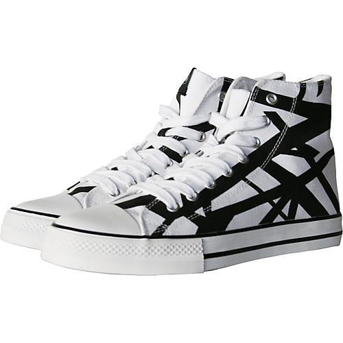 1c61832bef8 EVH Eddie Van Halen High Top Sneakers - White with Black Stripes ...