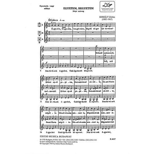 Editio Musica Budapest Egyetem, Begyetem (Hippity, Hoppity) SSA Composed by Zoltán Kodály