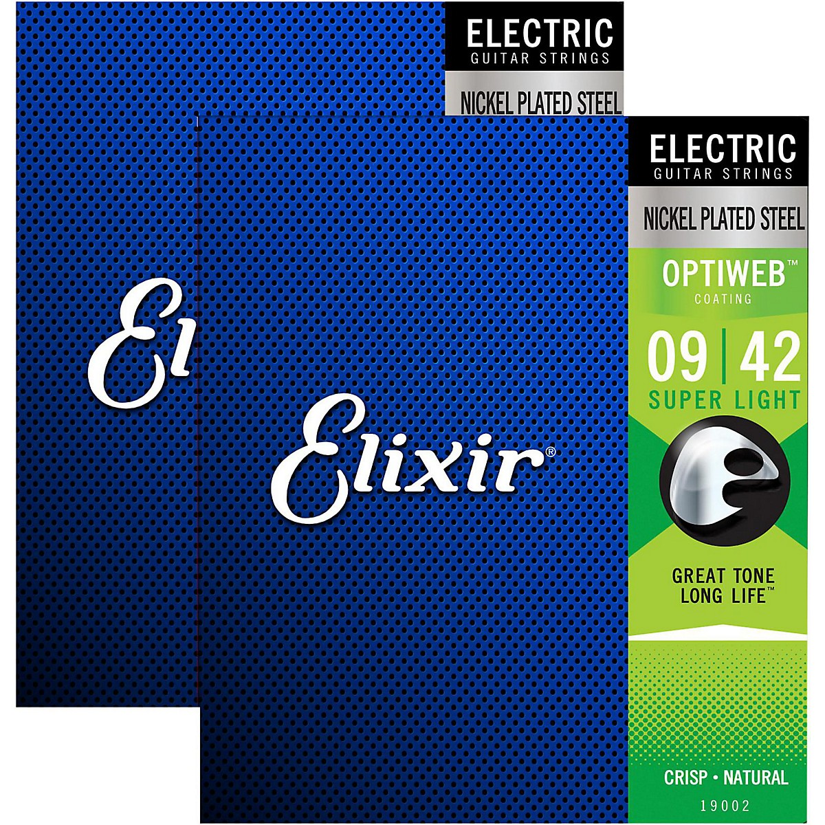 Elixir Electric Guitar Strings with OPTIWEB Coating, Super Light (.009-.042) - 2 Pack
