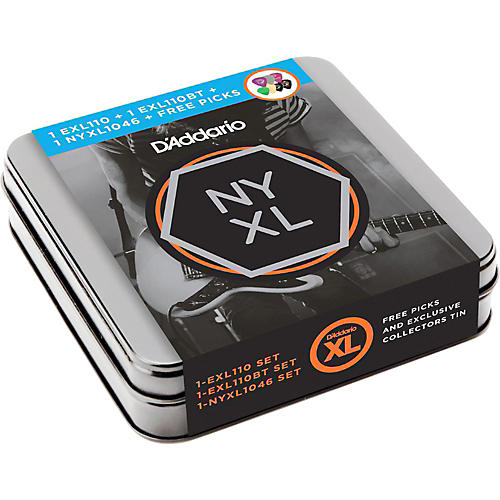 D'Addario Electric Sampler Tin with Strings and Variety Pack Picks