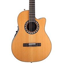 Ovation Elite AX Mid-Depth Cutaway Acoustic-Electric Nylon String Guitar Level 1 Natural