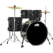 Encore Complete 5-Piece Drum Set With Chrome Hardware and Cymbals Black Onyx