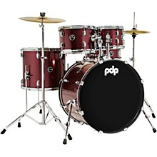 Encore Complete 5-Piece Drum Set With Chrome Hardware and Cymbals Ruby Red