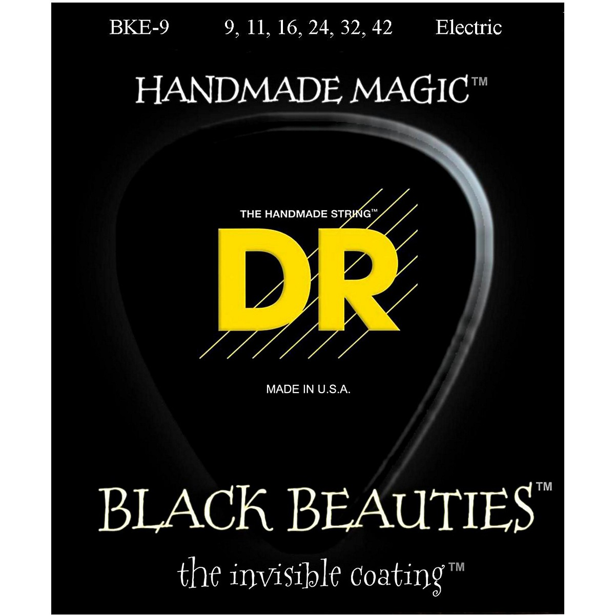 DR Strings Extra Life BKE-9 Black Beauties Lite Coated Electric Guitar Strings