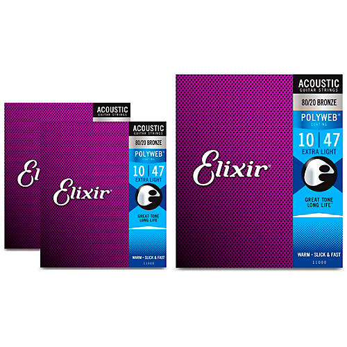 Elixir Extra Light Polyweb Acoustic Guitar Strings 3 Pack