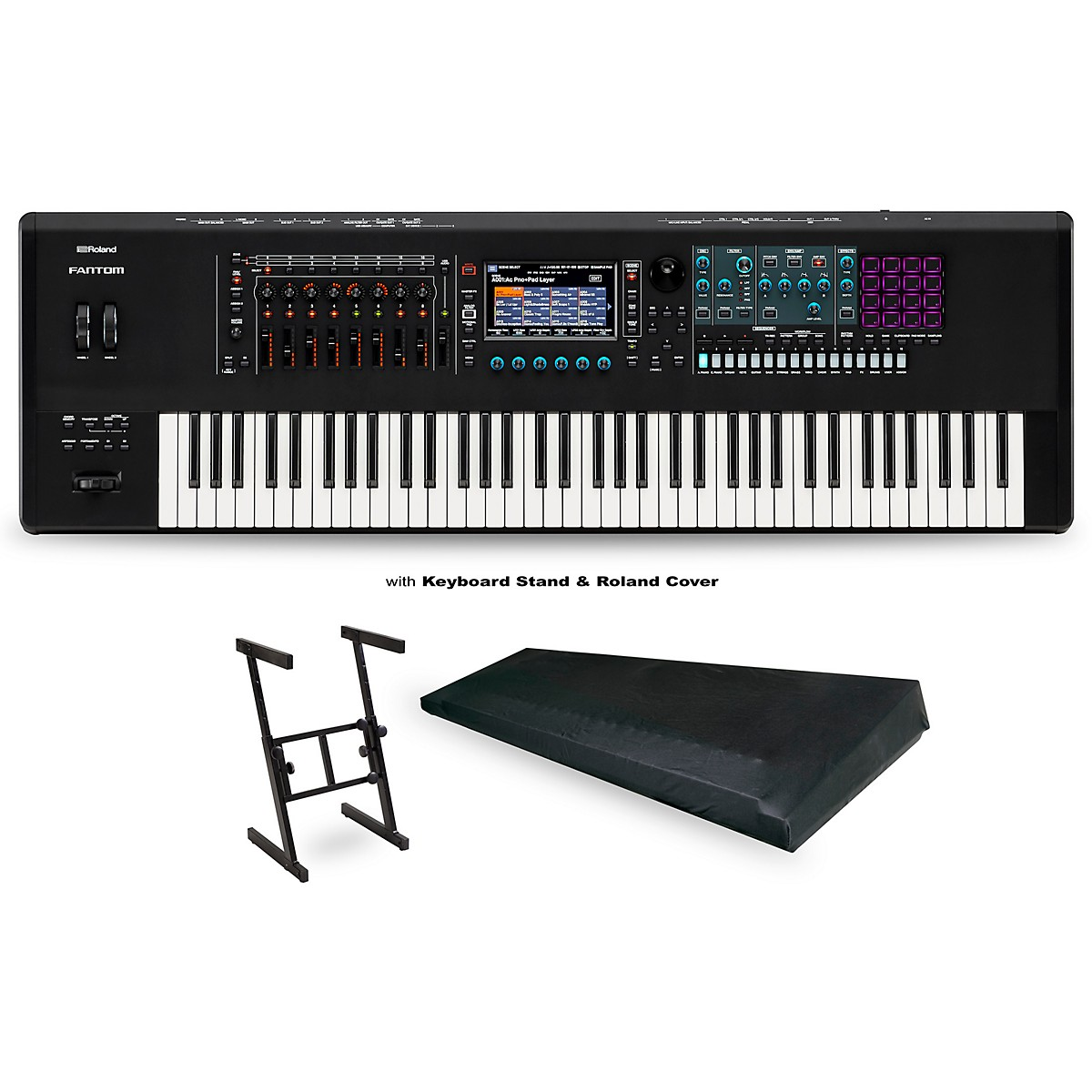 Roland FANTOM-7 Workstation with Z Stand and Large Dust Cover