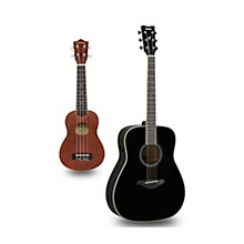 FG-TA TransAcoustic Dreadnought Acoustic-Electric Guitar and Ukulele Package Black