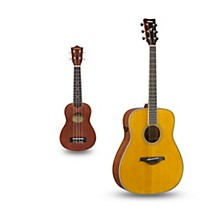 FG-TA TransAcoustic Dreadnought Acoustic-Electric Guitar and Ukulele Package Vintage Tint