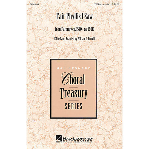 Hal Leonard Fair Phyllis I Saw TTBB A Cappella composed by John Farmer