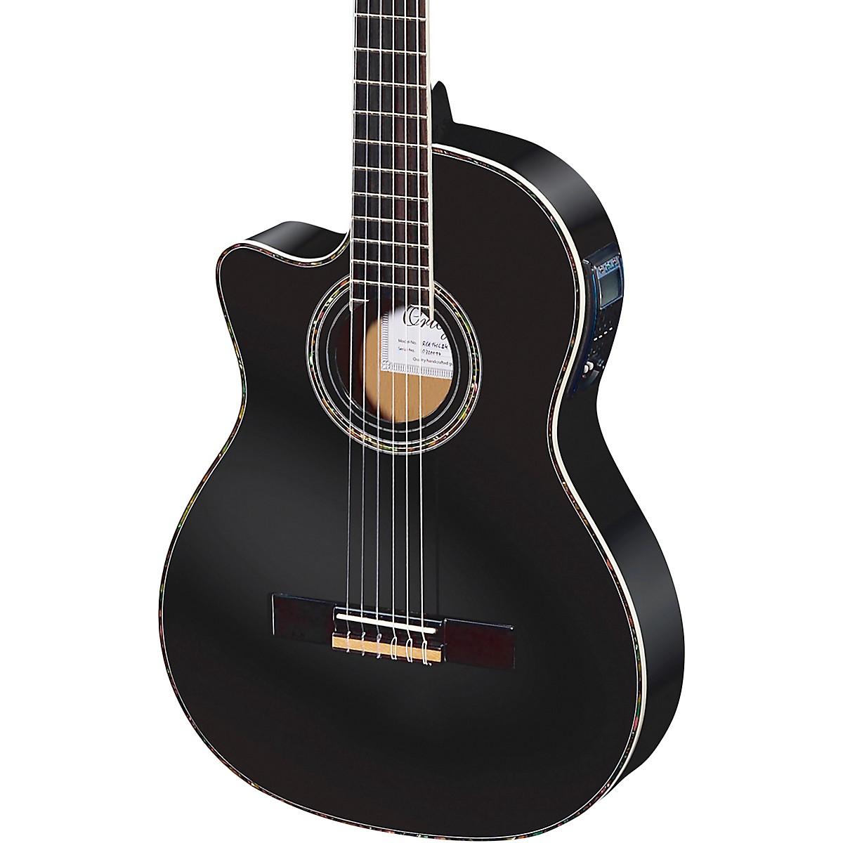 Ortega Family Series Pro RCE145LBK Thinline Acoustic-Electric Left-Handed Nylon Guitar
