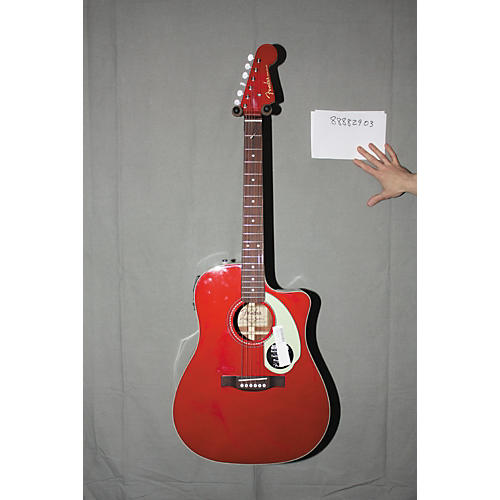 Used Fender California Series Sonoran SCE Custom Dreadnought Acoustic-Electric Guitar Candy Apple Red