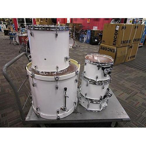 used pearl fiberglass wood drum kit white guitar center. Black Bedroom Furniture Sets. Home Design Ideas