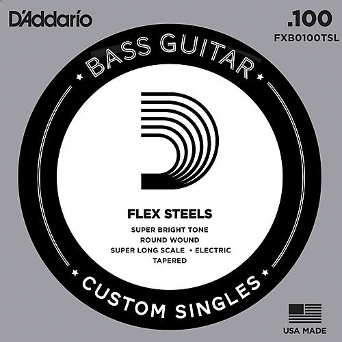 D'Addario FlexSteel Super Long Scale Tapered Single Bass Guitar String (.100)
