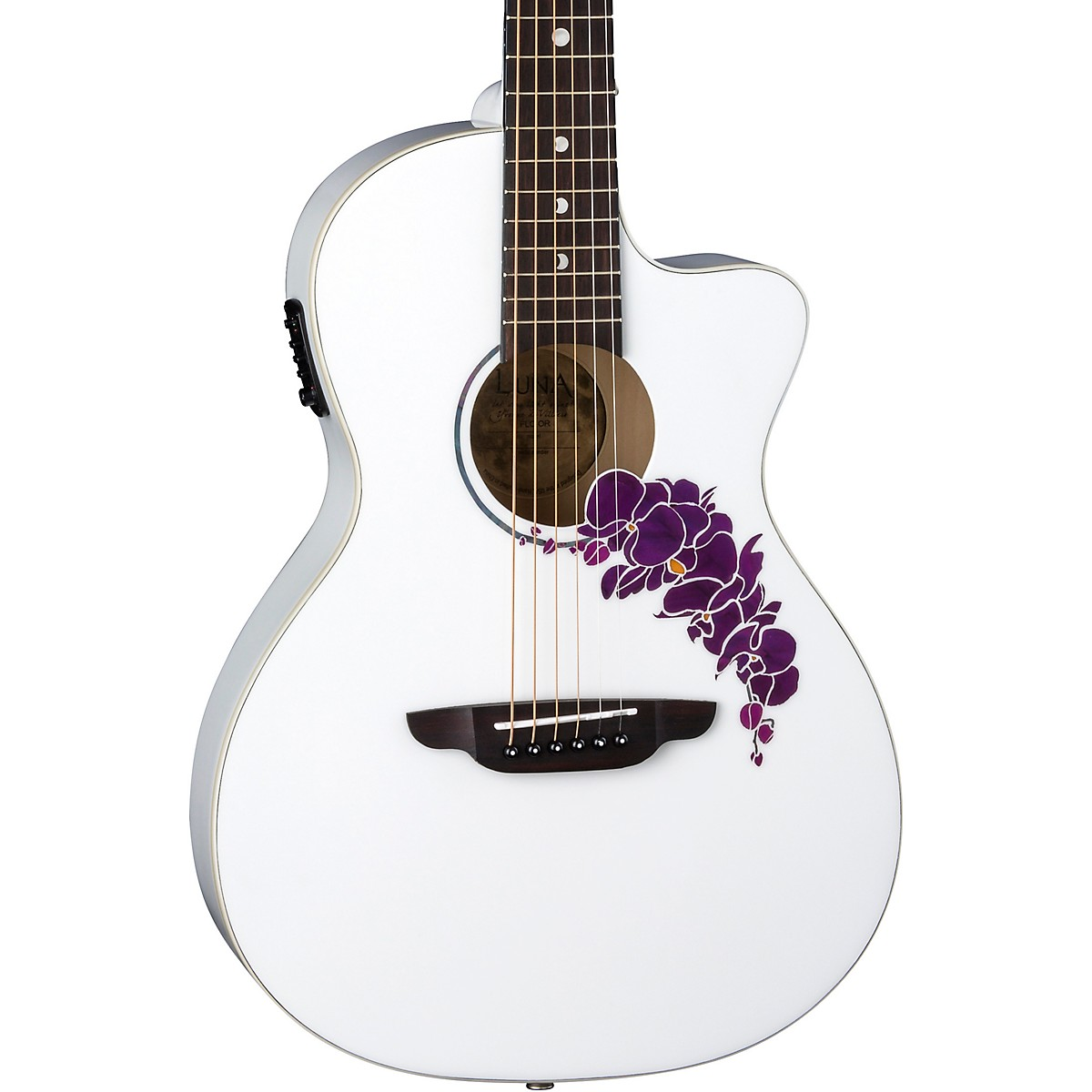 Luna Guitars Flora Orchid Select Spruce Parlor Acoustic-Electric Guitar