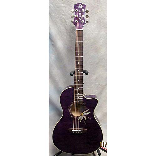 Luna Guitars Flora Passion Flower Acoustic Electric Guitar