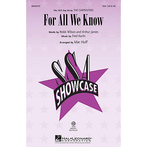 Hal Leonard For All We Know SSA by The Carpenters arranged by Mac Huff