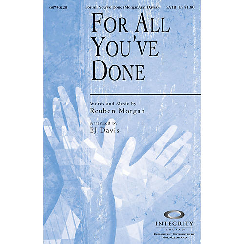 Integrity Choral For All You've Done CD ACCOMP Arranged by BJ Davis