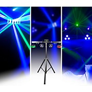 GIGBAR 2 4-in-1 LED Lighting System with 2 LED Derbys, LED Wash Light, Laser, and 4 LED Strobe Lights