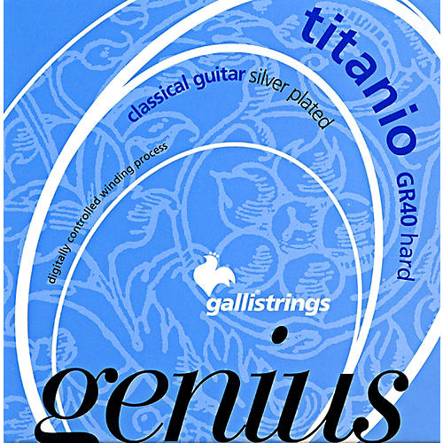 Galli Strings GR40 Genius Titanio Nylon Coated Silverplated Hard Tension Classical Acoustic Guitar Strings