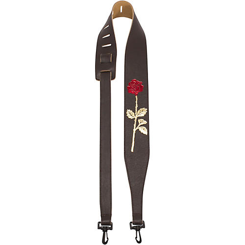 Perri's Garment Leather Banjo Strap With Embossed Rose