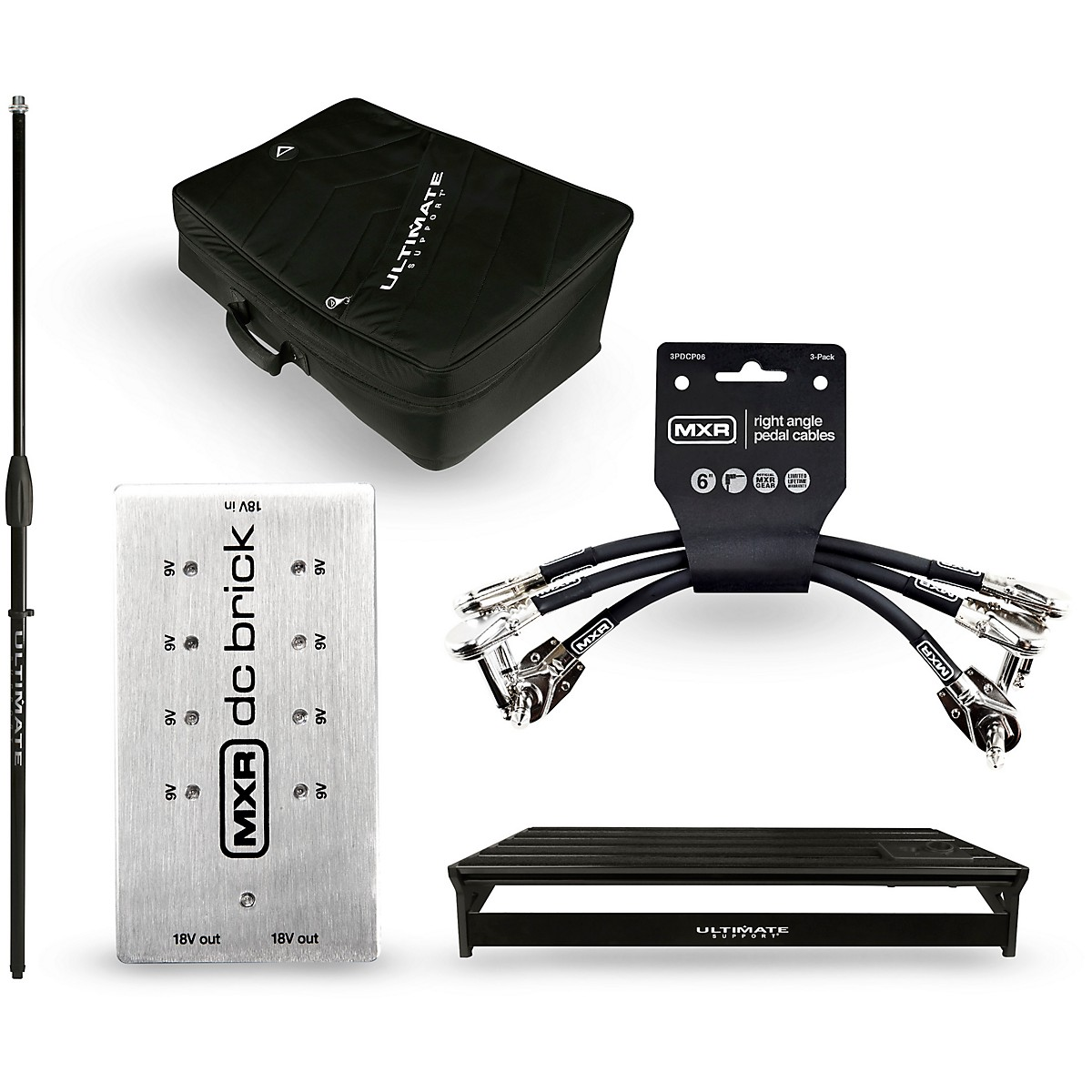 Ultimate Support Genesis GSP-500 Pedalboard Bundle wth DC Power Brick, Mic shaft, Cables and Bag