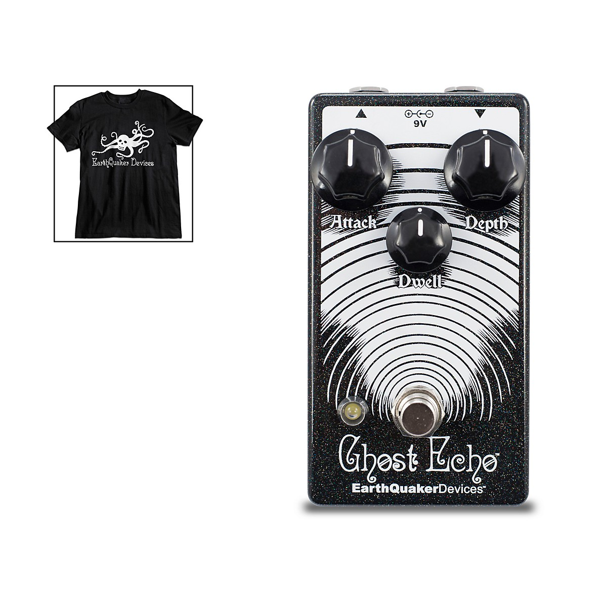 Earthquaker Devices Ghost Echo Reverb Guitar Effects Pedal V3 with Octoskull T-Shirt Large Black