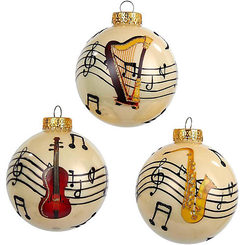 Kurt S. Adler Glass Music Note With Instrument Ball Ornament 3/Assorted