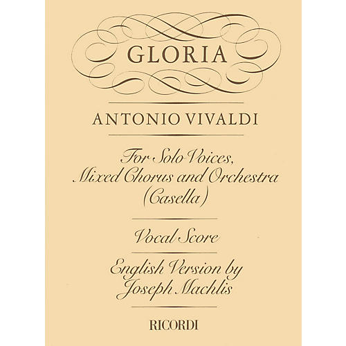 Ricordi Gloria RV589 (Vocal Score) SATB Composed by Antonio Vivaldi Edited by Maffeo Zanon