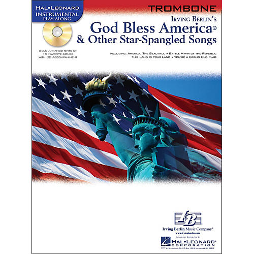 Hal Leonard God Bless America & Other Star Spangled Songs for Trombone instrumental Play-Along Book/CD
