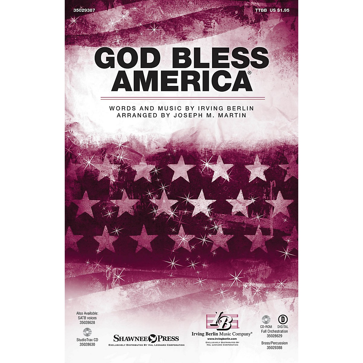 Shawnee Press God Bless America TTBB arranged by Joseph M. Martin