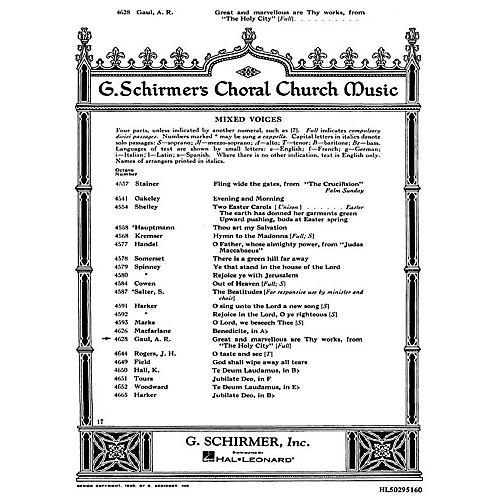 G. Schirmer Great and Marvelous Are Thy Works (from The Holy City) SATB composed by Alfred Gaul