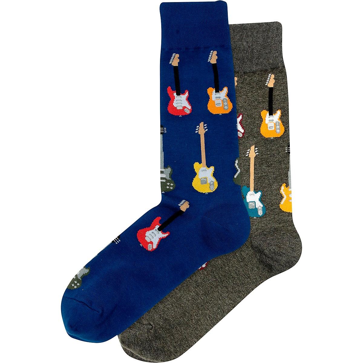 Hot Sox Guitars Crew Socks, 2 Pairs